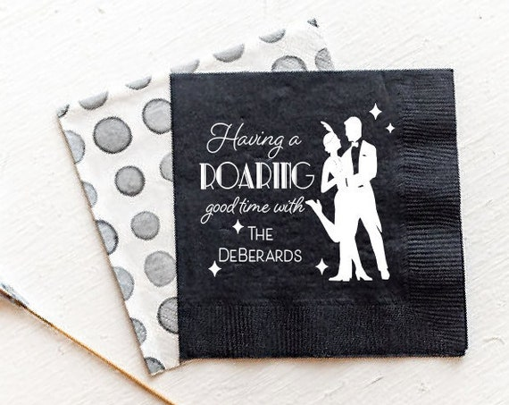 Roaring 20s party, New years eve napkins, New years eve party napkins, NYE napkins, Personalized napkins, roaring good time napkins