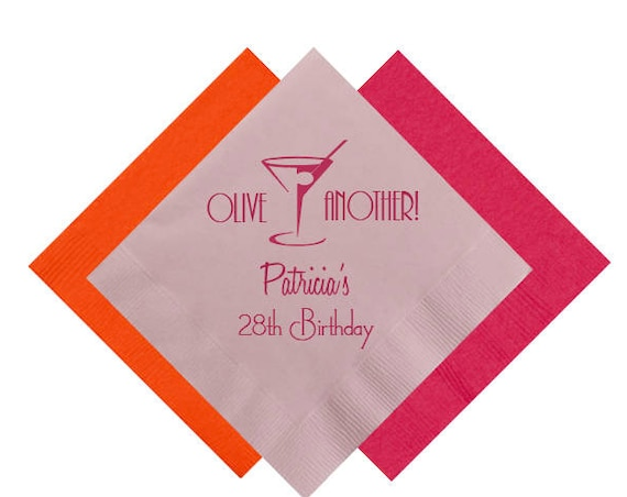 Birthday Napkins Personalized Napkins Beverage Napkins Custom Cocktail Napkins Birthday Party Supplies 30th birthday party 40th birthday