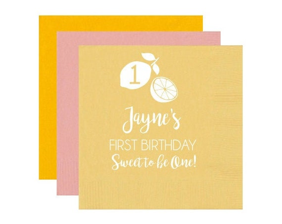 Lemon birthday napkins, Lemon birthday theme, Lemon birthday party favors, First birthday napkins, First birthday party, Personalized napkin