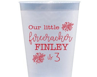 Our little firecracker birthday, 4th of July birthday party, Fourth of July party cups, Kids birthday party cups, Personalized plastic cups