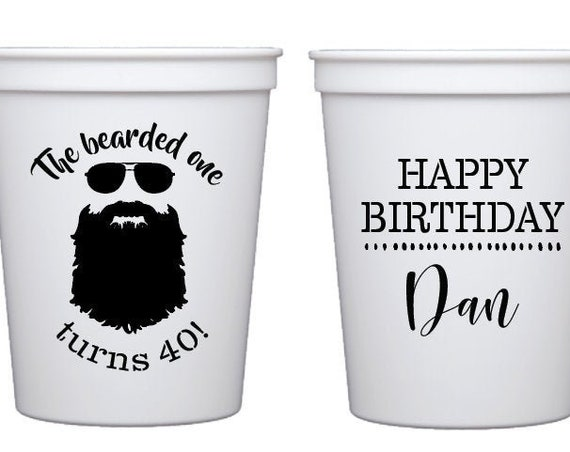 40th birthday cups, Beard cups, Bearded one birthday, Beard lover birthday, Personalized birthday cups, Guys birthday party, Stadium cups