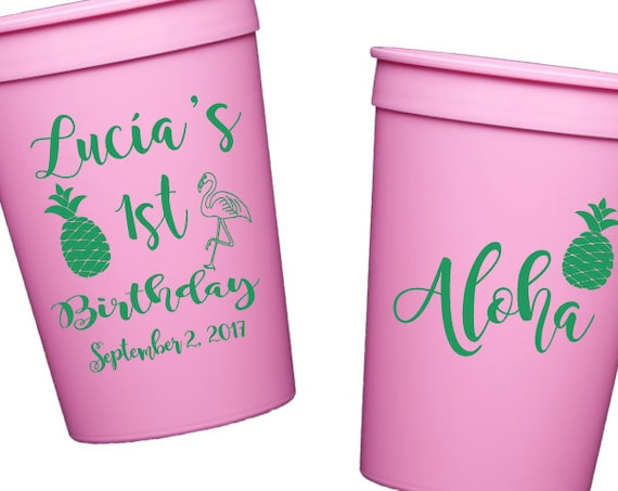 Luau birthday cups, childrens birthday party cups, personalized plastic stadium cups, child's birthday party favor, first birthday cups