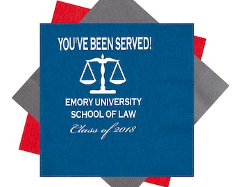You've been served, Law school graduation, Law school napkins, Graduation  napkins, Class of 2018, Personalized napkins, scales of justice
