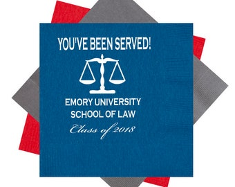 You've been served, Law school graduation, Law school napkins, Graduation napkins, Class of 2019, Personalized napkins, scales of justice