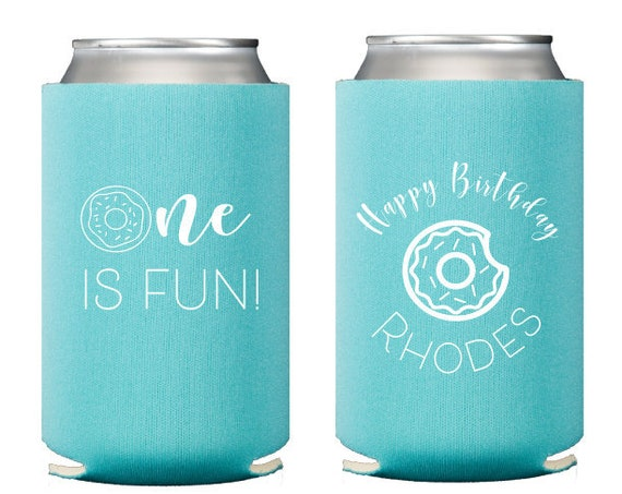 Donut birthday favor, Donut first birthday, Donut can coolers, Donut huggers, Donut theme, Personalized can coolers, First birthday favor