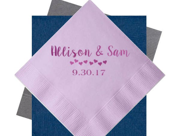 wedding napkins, reception napkins, personalized napkins, wedding shower decorations, wedding reception decorations, cocktail napkins