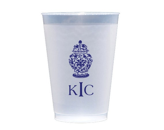 Ginger jar cups, Personalized plastic cups, Personalized shatterproof cups, Custom frosted cups, Blue and white cups, Monogrammed cups