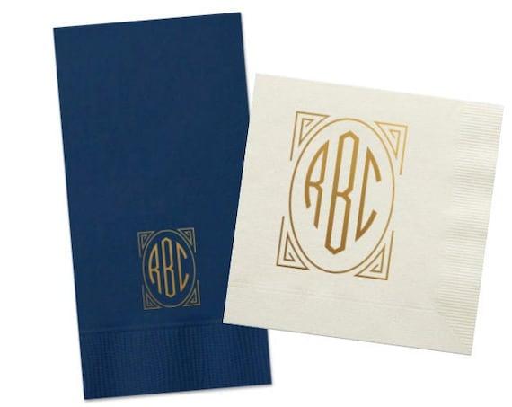 Art deco monogrammed napkins, Artdeco monogram napkins, Wedding napkins, Reception napkins, Foil stamped napkins, Gold foil monogram