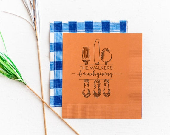 Friendsgiving napkins, Thanksgiving napkins, Holiday napkins, Personalized friends giving napkins, Cute holiday napkins, Friendsgiving favor