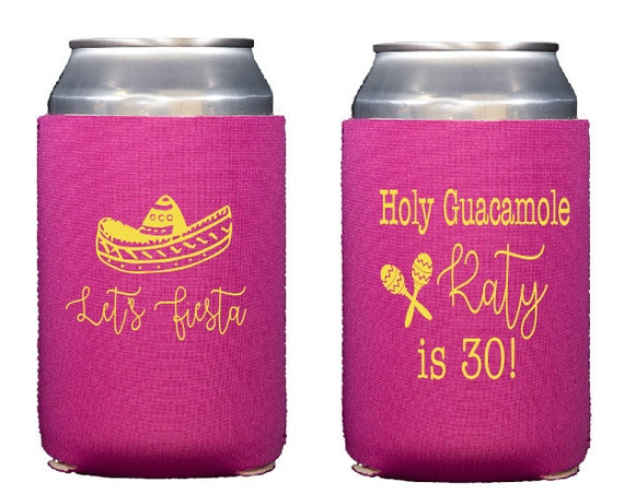 Neoprene huggie, personalized hugger, Personalized drink sleeve, holy guacamole, 30th birthday party favor, adult birthday party favor