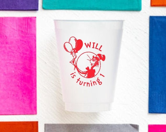 Dr Seuss birthday cups, Dr Seuss first birthday, Cat in the hat birthday, Personalized birthday cups, Personalized frosted cups