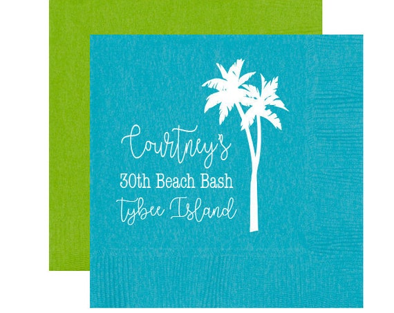 Beach birthday napkins, Beach birthday party napkins, 30th birthday party napkins, Palm tree napkins, Personalized birthday napkins