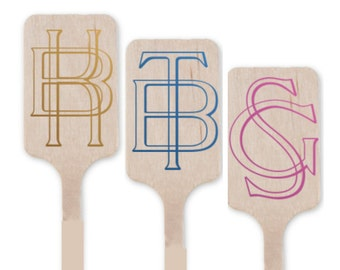 Personalized drink stirrers , Vintage monogram wooden drink stirrer, monogrammed stirrer, custom stirrers, stirrer stick, wedding stirrers