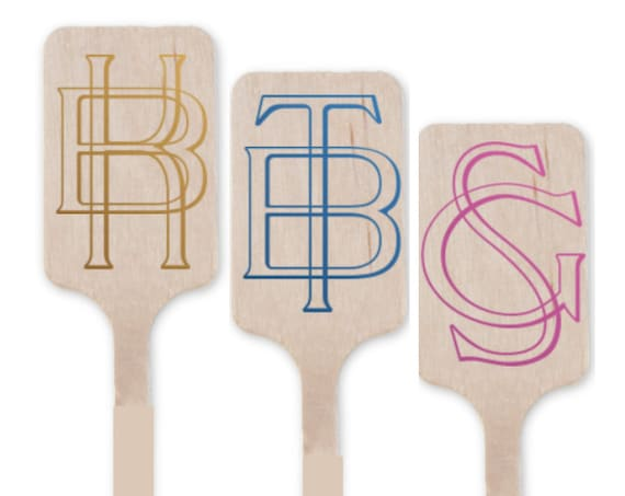Personalized drink stirrers , Wooden drink stirrer, Monogrammed stirrer, Monogrammed stirrer stick, Foil stamped stirrers, duogram