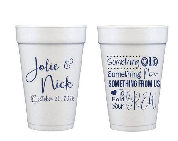 Wedding cups, Reception cup, Personalized wedding cup, Custom foam cus, Disposable cup, Styrofoam cup, Wedding reception favor, shatterproof