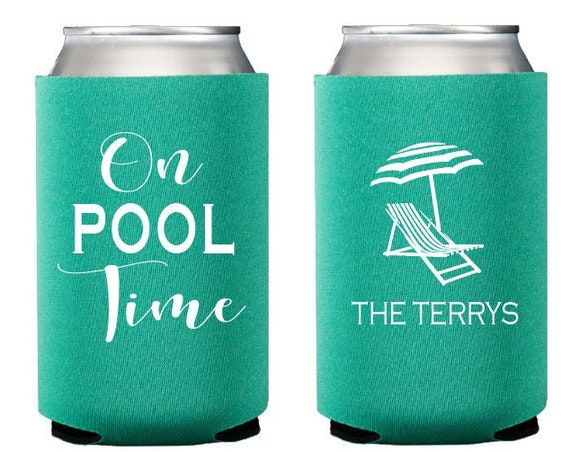 Personalized can coolers, Pool time can cooler, Pool party favor, Personalized gift, Housewarming gift idea, Summer pool party