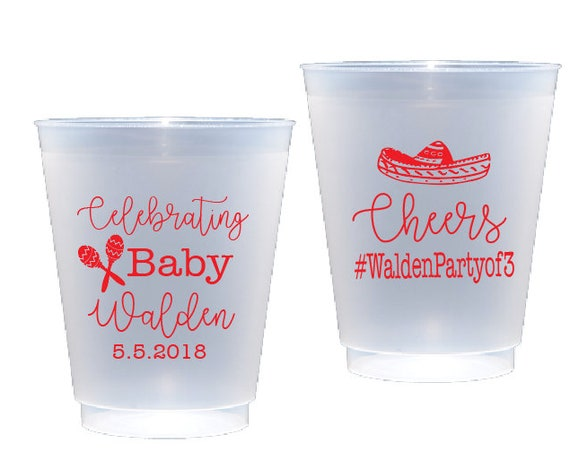 fiesta cups, fiesta baby shower cups, cinco de mayo cups, personalized shatterproof cups, personalized plastic cups, baby shower cups