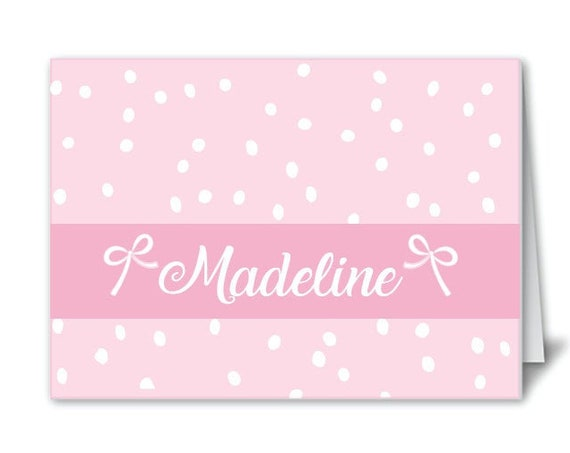 Girls thank you notes, Girls stationery, Bow stationery, Personalized notecards, Polkadot stationery, Pink polkadot notecards, kids notecard