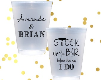 Stock the bar, frosted cups, engagement party cups, personalized shatterproof cup, personalized plastic cup, couples shower party favor