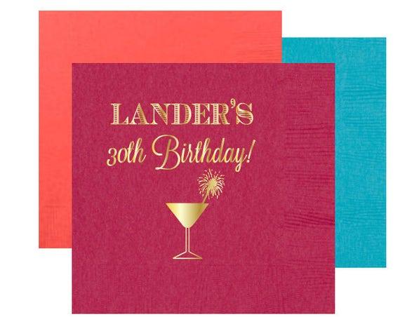 Personalized birthday napkins, 30th birthday napkins, monogrammed party napkins, gold foil napkins, birthday party decor, custom napkins