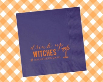 Halloween Napkins, Halloween party decor, Personalized Cocktail Napkins, Halloween Party Supplies, Halloween Decorations, drink up witches
