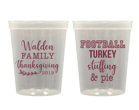 Family Thanksgiving cups, Football turkey stuffing cups, Turkey time cups, Personalized thanksgiving cups, Personalized plastic cups