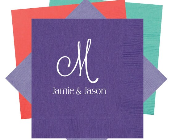 monogrammed cocktail napkins, reception napkins, wedding napkins, engagement party favor, housewarming gift, wedding shower napkins