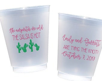 Fiesta wedding shower cups, Personalized plastic cups, Fiesta party cups, Couples shower cups, Stock the bar party, fiesta themed shower