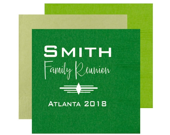 Family reunion napkins, family reunion decor, family reunion party favor, personalized napkins, foil stamped napkins, custom napkins