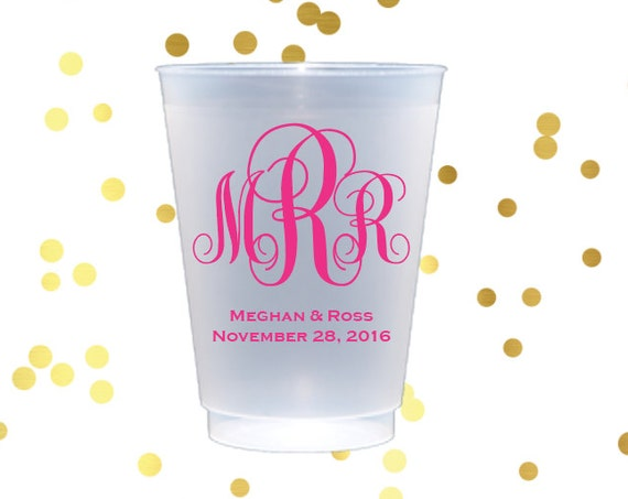 Monogrammed plastic cup, personalized shatterproof cup, reception cups, wedding favors, script monogram cups, monogrammed frosted cups