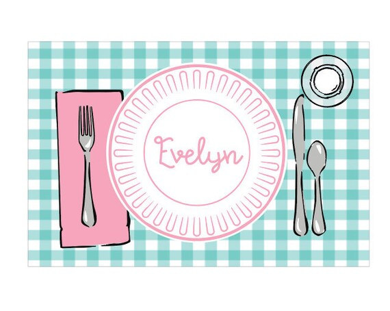 Personalized placemat, Gingham placemat, Kids Placemat, Customized Placemats for kids, Personalized gift for kids, Cute placemat