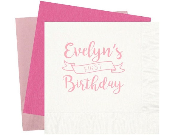 First birthday napkins, Personalized birthday napkins, Kids birthday napkins, Children's birthday party napkins, Girls first birthday party