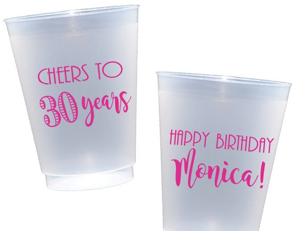 30th birthday plastic cups, cheers to 30 years, personalized plastic cup, shatterproof cup, birthday party cup, adult birthday party favor