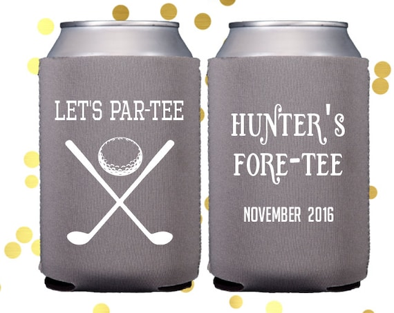 Golf party huggie, Personalized birthday can cooler, party favor, Guys 40th birthday, neoprene personalized party favor, drink sleeve
