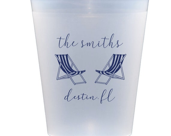 Beach house cups, Personalized beach cups, Personalized shatterproof cups, Customizable frosted cups, Vacation home gift, Beach trip cups
