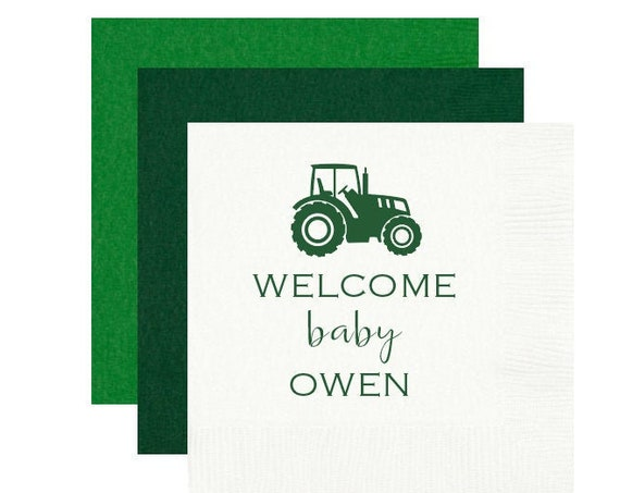 Tractor shower napkins, Tractor baby shower, Little farmer baby shower napkins, Baby boy shower napkins, Personalized napkins