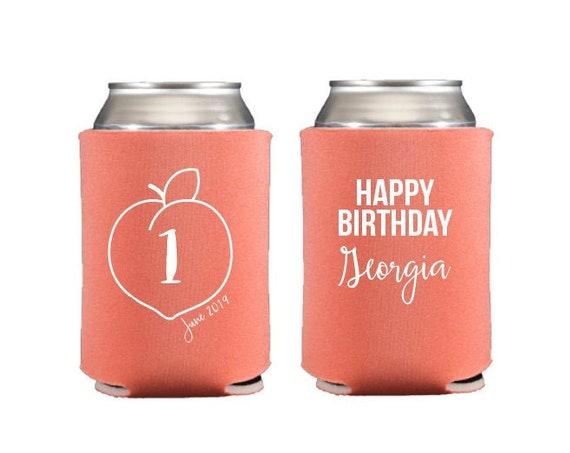 Peach birthday can coolers, Peach birthday party favor, Peach birthday favor, Peach first birthday, Peach theme party favor, Drink sleeve