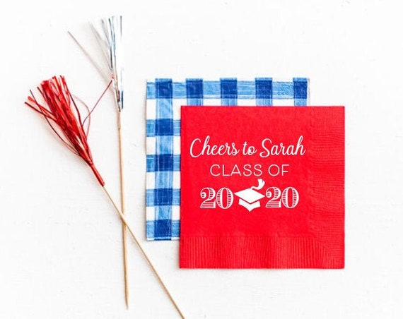 Graduation napkins, Class of 2020 graduation decor, High school graduation party decor, Personalized napkins, Graduation favor, 2020 grad