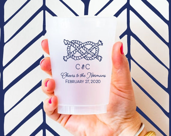 Nautical wedding favor, Nautical wedding cups, Personalized wedding cups, sailors knot cups, frosted cups for wedding, frosted cups custom