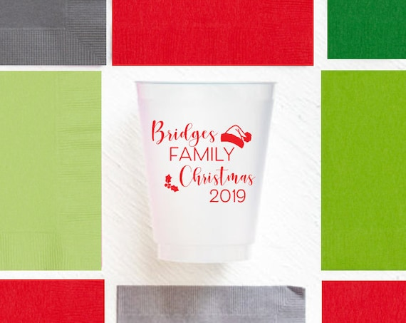 Christmas cups, Christmas party cups, Personalized cups, Holiday party cups, Family Christmas cups, Custom frosted cups, Shatterproof