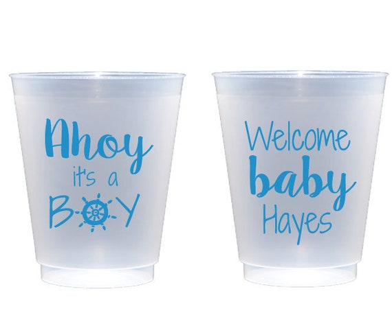 Ahoy it's a boy, Baby shower cups, Nautical baby shower, Boy baby shower, Baby shower cups, Personalized shatterproof cups, Frosted cups