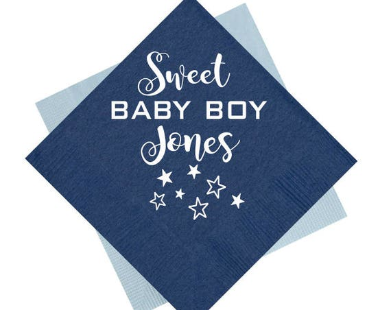 Baby boy shower napkins, baby shower napkins, personalized napkins, custom napkins, personalized cocktail napkins, sweet baby boy napkins