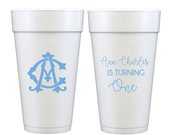 First birthday cups, First birthday party cups, Personalized cups, Personalized foam cups, Monogrammed birthday cups, Monogrammed cups