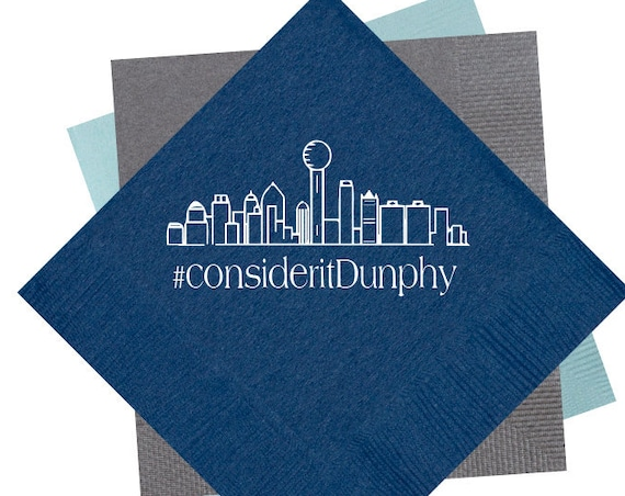 Dallas wedding, Dallas skyline, wedding napkins, hashtag napkins, wedding reception napkins, personalized napkins, custom beverage napkins