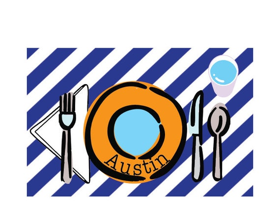 Kids Personalized Placemat, Striped placemat, Customized placemats for kids, Kids Placemat, Personalized Kids Gift, Laminated placemat