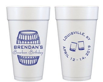 Bourbon birthday cups, Bourbon party cups, Personalized birthday cups, Bourbon themed party, Guys birthday party, Whiskey birthday party