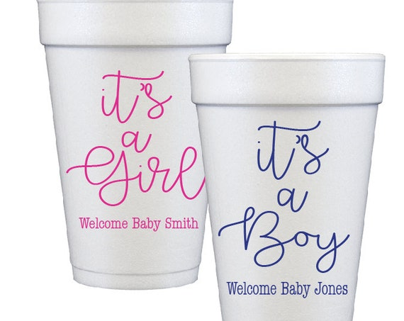 gender reveal baby shower its a boy its a girl baby shower cups gender reveal cups personalized cups styrofoam cups custom foam cups