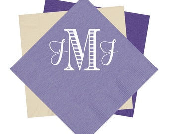 monogrammed cocktail napkin, wedding reception napkins, bridal shower napkins, monogram napkins, foil stamped napkins, personalized napkins