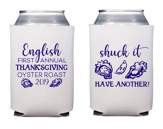 Oyster roast can cooler, Oyster roast party favor, Oyster roast theme, Oyster can cooler, Shuck it can cooler, Personalized can cooler