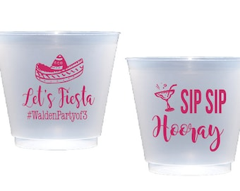fiesta cups, fiesta baby shower cups, sip sip hooray, personalized shatterproof cups, personalized plastic cups, baby shower cups